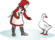 Maiden. Abstract illustration of maiden feeding the goose Stock Photos