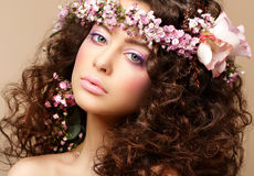 Maiden. Beautiful Neat Woman with Pink Romantic Wr Royalty Free Stock Image
