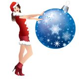 Maiden and Christmas ball. Royalty Free Stock Image