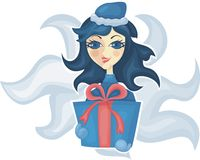 Maiden with a gift in vector Royalty Free Stock Photos