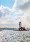 Maiden Island with ships in istanbul Royalty Free Stock Photos