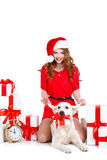 Maiden and labrador dog with Christmas gifts Royalty Free Stock Images