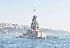 Maiden& x27; s塔& x28; Kizkulesi& x29;博斯普鲁斯海峡伊斯坦布尔 免版税库存图片