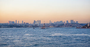 Maiden`s island in Istanbul, Turkey at sunset time. Stock Image