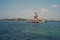 Maiden`s Island Lighthouse in Istanbul royalty free stock photos