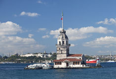 Maiden's Tower. The Maiden's Tower (Turkish: Kız Kulesi), also known in the ancient Greek and medieval Byzantine periods as Leander's Tower (Tower of Leandros Stock Images