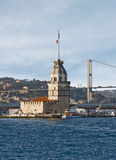 Maiden's Tower. The Maiden's Tower and The Bosphorus Bridge in Istanbul Turkey Stock Image
