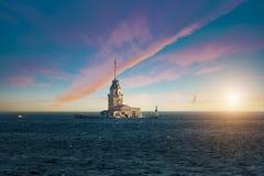Maiden`s Tower in Bosphorus stock photography