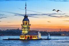 Maiden's Tower in Bosphorus at sunset Stock Images
