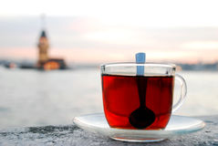 Maiden's Tower a cup of tea. The Maiden's Tower and a cup of tea in İstanbul-Turkey Royalty Free Stock Photo