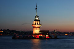 Maiden`s Tower at dusk, Istanbul Stock Photo
