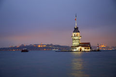 Maiden's Tower at the evening in Istanbul Turkey Stock Photos