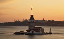 Maiden's Tower. At evening with long exposure Royalty Free Stock Image