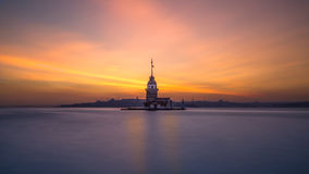Maiden s Tower. Maiden`s Tower `when the evening long exposure stock photo