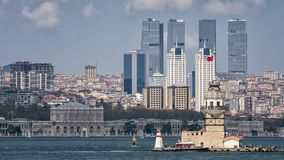Maiden`s Tower In Front Of Dolmabahce Palace, Istanbul, Turkey. N royalty free stock photos