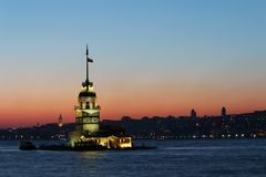 Maiden`s Tower and Galata Tower at Sunset stock image