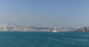 Maiden's Tower in the Golden Horn in Istanbul Royalty Free Stock Photo