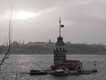 The Maiden s Tower and Historic Peninsula-Black and white with red. Stock Image