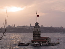 The Maiden's Tower and Historic Peninsula-Colorful Stock Photography