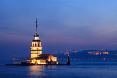 The Maiden's Tower in Istanbul. At night Royalty Free Stock Photos
