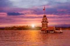 Maiden's Tower in Istanbul. During sunset Royalty Free Stock Photos