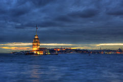 Maiden's Tower in Istanbul. Evening view of Maiden's Tower in Istanbul on the Bosphorus strait