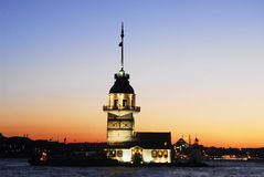 Maiden's tower - istanbul capital of cultur. Sunset on the bosporus istanbul Royalty Free Stock Photography