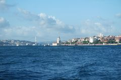 Maiden`s Tower, Istanbul, a famous symbol of Turkey. stock images