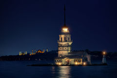 Maiden`s Tower in Istanbul at night stock photo