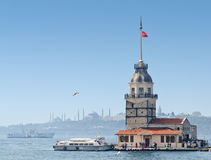 Maiden's Tower in Istanbul, Turkey. Maiden's Tower (Leander's Tower) in Istanbul, Turkey with Hagia Sophia and Blue Mosque at a distance Royalty Free Stock Photo