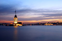 Maiden's Tower. The Maiden's Tower in İstanbul-Turkey Stock Photo