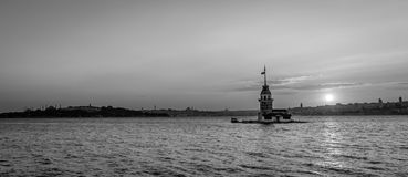 Maiden's Tower in Istanbul, Turkey. Black and white photography. Stock Image