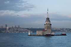 The maiden's tower, Istanbul, Turkey. The maiden's tower museum also known as Leander's Tower at the entrance to the Bosphorus, Istanbul, Turkey royalty free stock photography