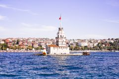The Maiden`s Tower in Istanbul, Turkey. Today, there is a restaurant in the first floor and a caf at the top of the tower. The sym. Bol of Istanbul Royalty Free Stock Images