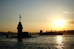 Maidens Tower Istanbul. A view of Maidens Tower in at Istanbul sunset Stock Photos