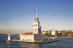 Maidens Tower (Kiz Kulesi)at dawn. Istanbul, Turkey stock photo