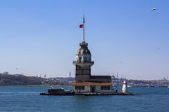 Maiden`s Tower or Kiz Kulesi located in the middle of Bosporus, Istanbul stock photos