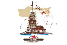 The Maiden`s Tower Kiz Kulesi. Istanbul/Turkey city design. Hand drawn illustration Stock Photo