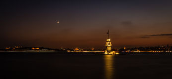 Maiden's Tower or Kiz kulesi panoramic night photography Royalty Free Stock Images