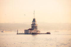 Maiden's Tower (Kiz Kulesi) at sunny morning Stock Photography