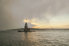 Maiden s Tower located in the middle of Bosphorus strait, Istanb Royalty Free Stock Images