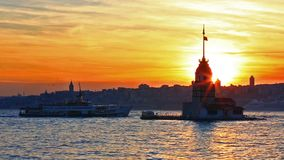 The Maiden`s Tower, Istanbul, Turkey. The Maiden`s Tower is a tower lying on a small islet located at the southern entrance of the Bosphorus stock video footage