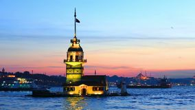 Leander`s Tower, Istanbul, Turkey. The Maiden`s Tower is a tower lying on a small islet located at the southern entrance of the Bosphorus stock footage
