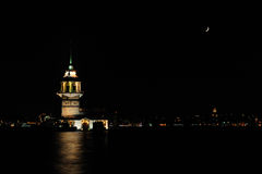 Maiden's Tower at night. Night view of Maiden's Tower in Istanbul on the Bosphorus strait Stock Photography