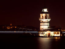 Maiden's Tower at the Night in Istanbul, Turkey Stock Photos