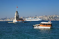 Maiden's Tower and ships in Istanbul Royalty Free Stock Photos
