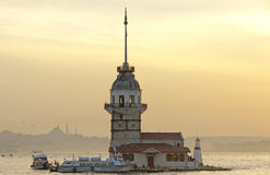 Maiden's Tower at sunset in Istanbul Royalty Free Stock Photo