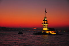 Maidens Tower. In Sunset in Istanbul stock photo