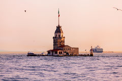 Maiden's Tower at sunset in Istanbul.  Stock Photo