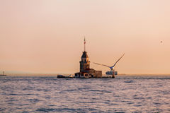 Maiden's Tower at sunset in Istanbul. Travel Turkey. Royalty Free Stock Photo